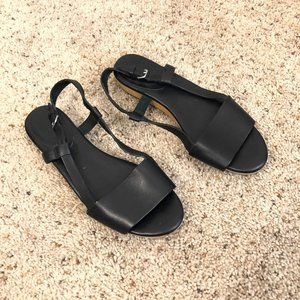 Madewell Black Strappy Flat Sandals